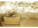 Organza ribbon with wire edge  Organza ribbon with the wire edge  gold Great for decorating parcels floristry gift basketsLOGO TO WEBSITE TO DOWNLOAD FULL COLOUR CHART OF RIBBONS AND ORGANZA BAGS Please Click the image for more information.