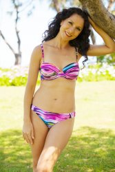Cosmic This vibrantly coloured two piece is perfect for the summer ahead With adjustable and removable straps gel lining on the bust for extra hold and a strong clasp that connects up at the back this is the perfect bandeau design with a cute pair of matching bottoms. Please Click the image for more information.