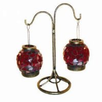Burgundy lantern (set 2) Burgundy lantern set 2 on black metal stand Please Click the image for more information.