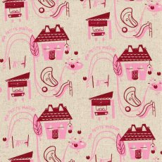 My Little House Deep Maroon & Lilly Pink on Natural Linen Blend My Little House is an adorable whimsical design with a retro vibe by talented Australian textile designer Tara Davy. Please Click the image for more information.