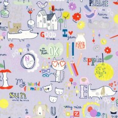 Alexander Henry My World of Smiles Lavender Alexander Henry My World of Smiles is an adorable childrens fabric design featuring fun drawings of animals apples pencils and alphabet letters  script Thi. Please Click the image for more information.