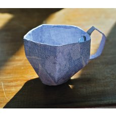 blue 'envelope' paper teacup Hand made by Skye a gorgeous whimsical light spotted green paper teacup Please Click the image for more information.