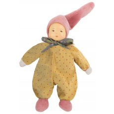 moulin roty petite chose yellow rattle our petit chose yellow rattle is 20 cm and is fully dressed in a yellow dress with pink dots along with a hat and pink slippers . Please Click the image for more information.