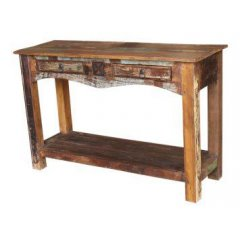 """Collaroy"" Hardwood Console Hall Table 120cm with Shelf ON DISPLAY AT 117 SALISBURY ROAD CASTLE HILLThe Collaroy Solid Hardwood  Metal Console Hall Table has two large drawers and a handy shelf Made from s. Please Click the image for more information."