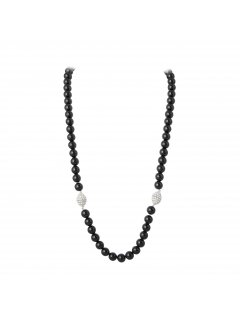 10716A BLACK PEARL NECKLACE  BRACELET SETMAGNETIC DIAMONTE CLASP Please Click the image for more information.
