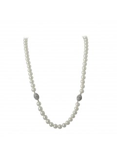 10716 CREAM PEARL NECKLACE  BRACELET SETTHIS IS A GREAT NECKLACE YOU CAN WEAR A COUPLE OF DIFFERENT WAYSTHE NECKLACE HAS A MAGNETIC DIAMONTE CLASP Please Click the image for more information.
