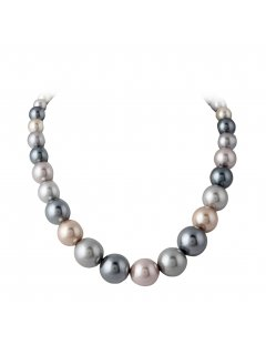 10715B VARIGATED PEARL NECKLACE IN SILVERMOCHA TONES Please Click the image for more information.