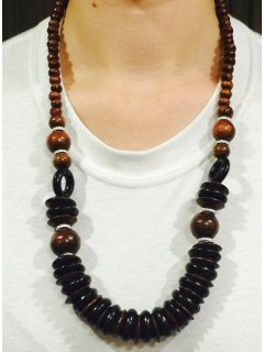 10737C WOODEN NECKLACE IN BLACK  BROWN TONES Please Click the image for more information.