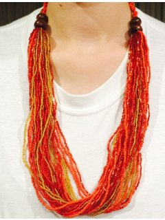 10739C CORAL  ORANGE BEADED NECKLACE Please Click the image for more information.