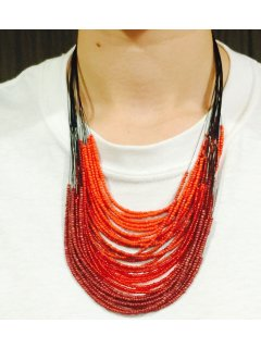 10747B ORANGE OCHRE  CORAL BEADED MULTI STRAND NECKLACE Please Click the image for more information.