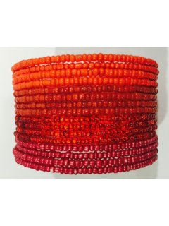 B0221C BEADED CUFF BRACELET IN RED  CORAL TONES Please Click the image for more information.