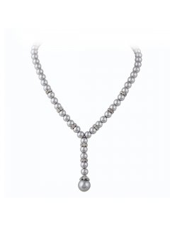 10755B GREY PEARL DIAMONTE SINGLE DROP PENDANT Please Click the image for more information.