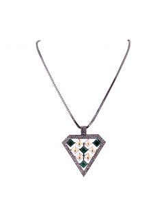 10767B HEMATITE NECKLACE WITH GREENCRYSTAL TRIANGLE DROP Please Click the image for more information.