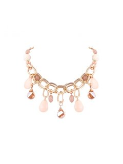 10769 GOLD CHAIN LINK CHOKER WITH BEIGE BEADS Please Click the image for more information.