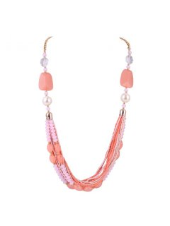 10770A CORAL  PINK BEADED NECKLACE Please Click the image for more information.