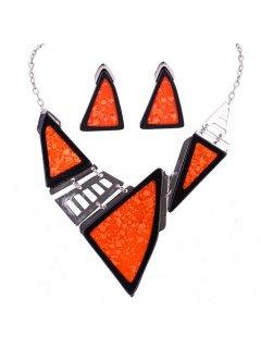 10773 FASHION NECKLACE  EARRING SET IN ORANGE Please Click the image for more information.