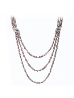 10759B MOCHA TRIPLE STRAND PEARL NECKLACE WITH DIAMONTE SIDE BARS Please Click the image for more information.