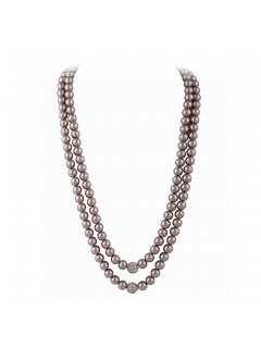 10761A DOUBLE ROW MOCHA PEARL WITH DIAMONTE CENTRE Please Click the image for more information.