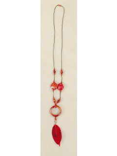 10792A RED WOODFEATHER NECKLACE Please Click the image for more information.