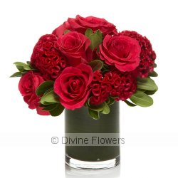 Crazy Love (red roses and celosia)  Priced from $ 155  Click for more details