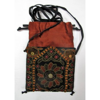 Indian Silk Embroidered Pouch Hand embroidered cotton drawstring bag  from Gujarat India  The bag is hand embroidered in silk thread in a variety of stitches many incorporating small mirrors  . Please Click the image for more information.